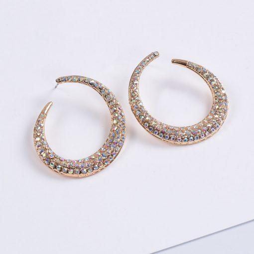 New ring full diamond earrings European and American style high-grade diamond semi-circle earrings jewelry wholesale YQL-009