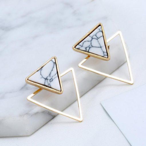European and American earrings women Fashion geometric triangle marble hypoallergenic earrings wild earrings wholesale ylx-130