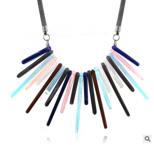 Fashion color acrylic necklace new popular acetic acid necklace European and American exaggerated necklace YNR-018