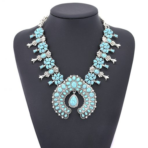 European and American big brand fashion boho turquoise flower pendant alloy necklace come together -004