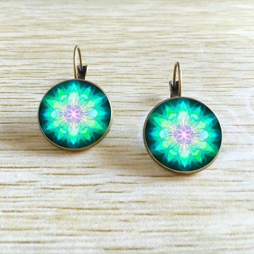 Retro simple glass gemstone earrings Female French ear hook YFT-071