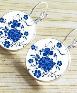 French hook jewelry 18mm time gemstone blue and white porcelain earrings YFT-042