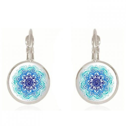 Time Gem Mandala Flower Earrings French Hook Earrings Wholesale YFT-048
