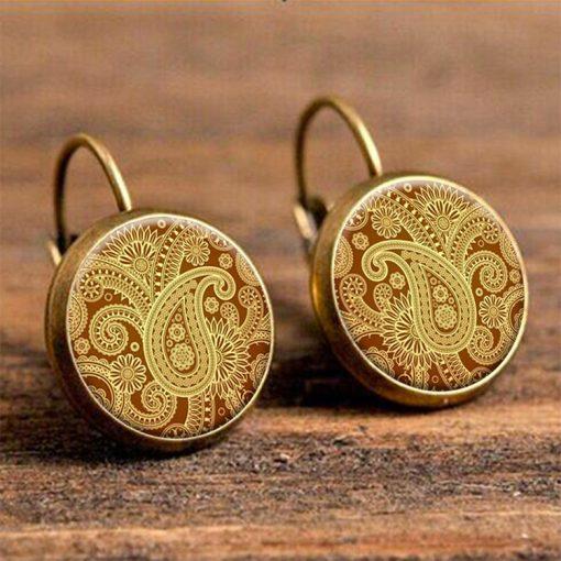 European and American retro ethnic style ham flower French hook earrings wholesale YFT-091