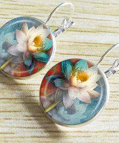 Ethnic style time gemstone Indian lotus earrings French style hook retro YFT-049