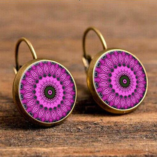 European and American handmade ethnic ear hooks Retro time gemstone earrings YFT-056