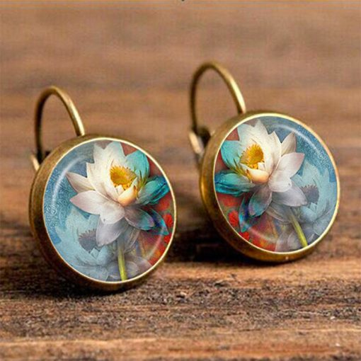 Ethnic style time gemstone Indian lotus earrings French style hook retro YFT-049