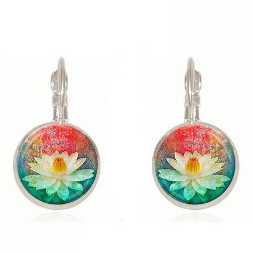 Handmade Jewelry French Vintage Earrings Ethnic Style Time Gem Indian Lotus Earrings YFT-041