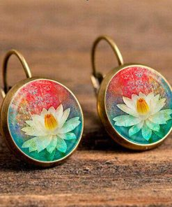 Handmade Jewelry French Vintage Earrings Ethnic Style Time Gem Indian Lotus Earrings YFT-041