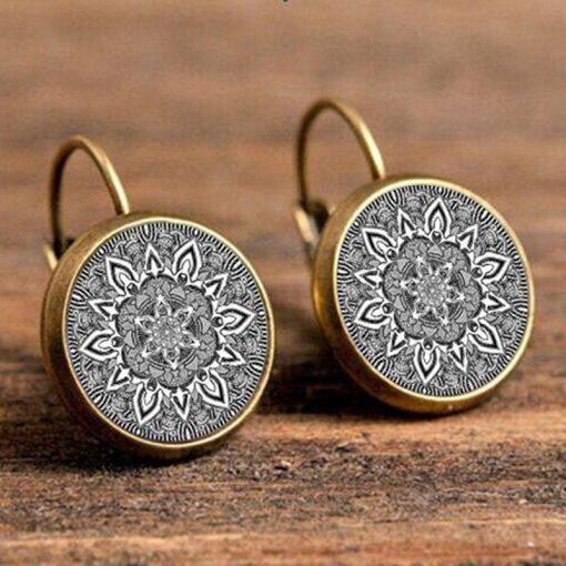 French Earrings Hooks Time Gemstones Vintage Earrings National Wind YFT-044