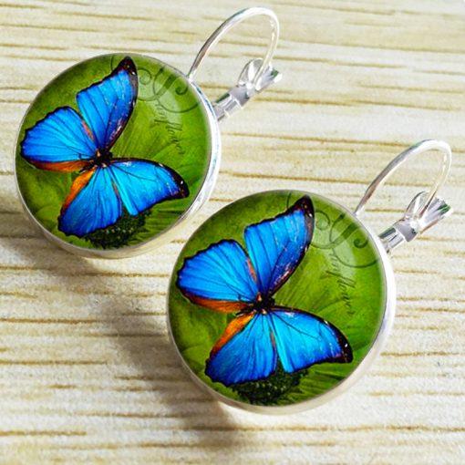 Vintage Time Gemstone Butterfly Earrings New Hot Sale French Hook YFT-058