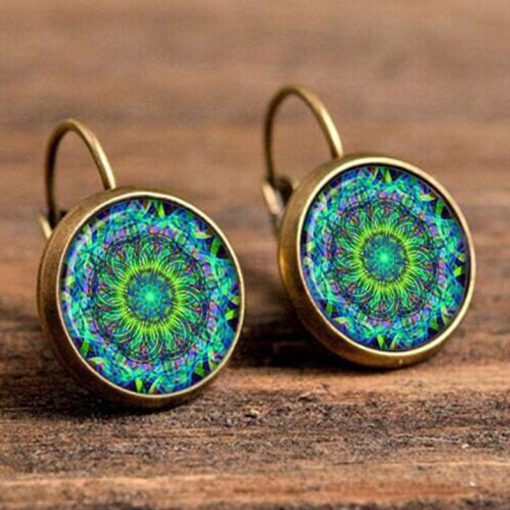 18mm Sun Flower Retro Pop Time Gemstone Earrings YFT-100
