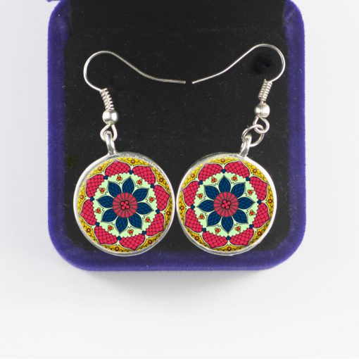 European and American retro time gemstone sun flower earrings New hot sale French hook YFT-060