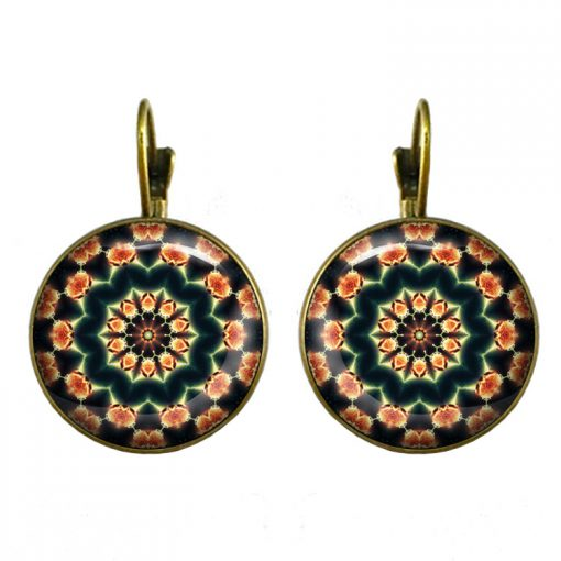 18mm Mandala Flower Retro Pop Time Gemstone Earrings YFT-099