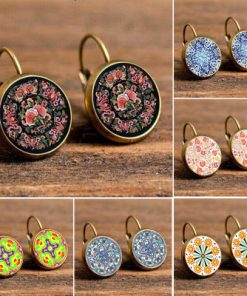 Vintage Mandala Print Time Gemstone Earrings French Ear Hook Mixed Batch 20/bag YFT-072