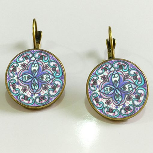 Vintage Mandala Print Time Gemstone Earrings French Ear Hook Mixed Batch 20/bag YFT-072