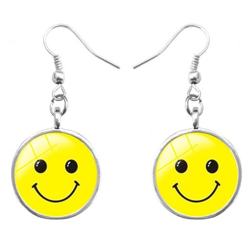 Hot emoji expression time gemstone earrings yft-115