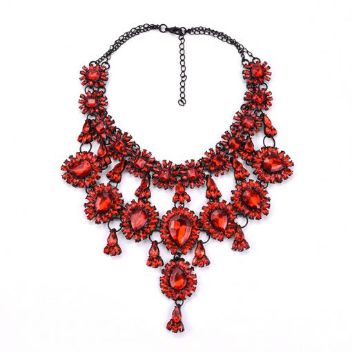 Europe and the United States luxury big high-end gemstone necklace 2019 new accessories multi-layer flower tassel necklace YQL-006