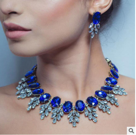 New accessories European and American fashion hand-studded crystal necklace earrings set YQL-001