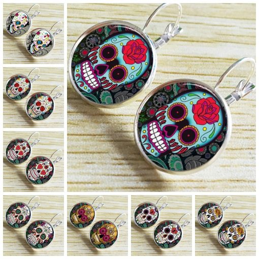 Personality skull time gemstone earrings glass earrings European and American fashion jewelry yft-095