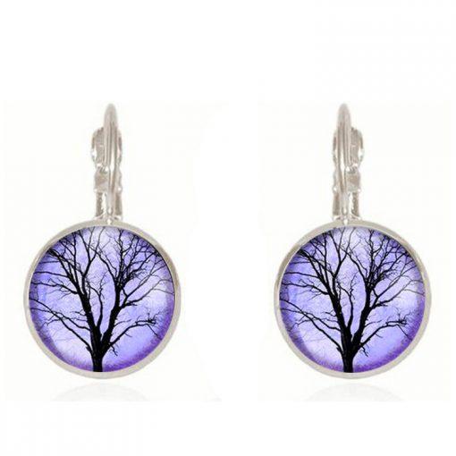 Life tree gemstone earrings European and American fashion jewelry YFT-131