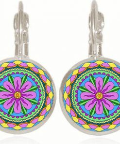 Retro Pop Mandala Flower French Ear Hook Time Gemstone Earrings YFT-057
