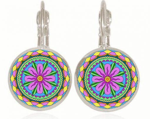 Retro Pop Mandala Flower French Ear Hook Time Gemstone Earrings YFT-057