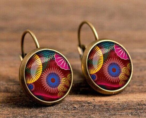 Time Gemstone Henna Best selling Mandala Flower Wolf Head Earrings YFT-096