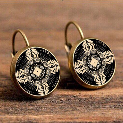 18mm Mandala Flower Retro Pop Time Gemstone Earrings YFT-098