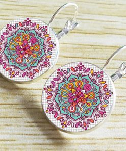 18mm Mandala Flower Retro Pop Time Gemstone Earrings YFT-102