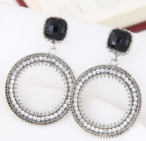 European and American fashion metal flash drill simple circle temperament earrings ylx-093