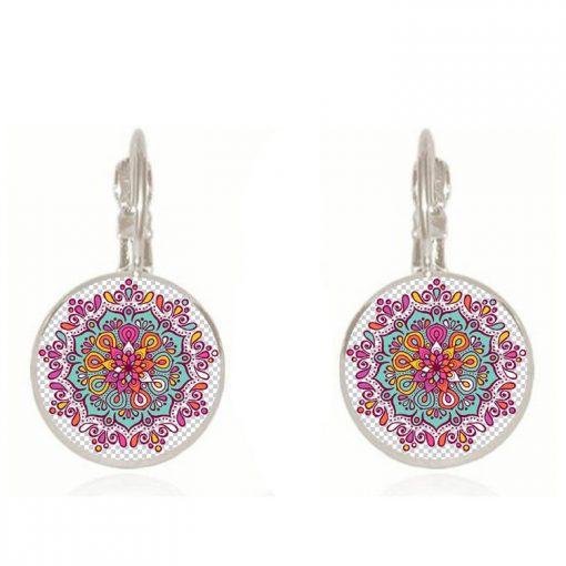 18mm Mandala Flower Retro Pop Time Gemstone Earrings YFT-102