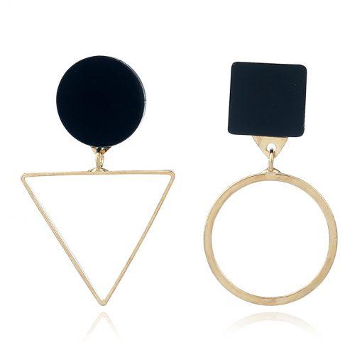 Korean version of irregular geometric circular triangle asymmetric earrings YLX-075