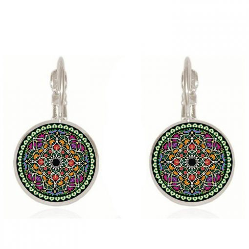 18mm Mandala Flower Retro Pop Time Gemstone Earrings YFT-106