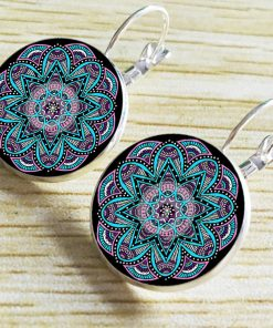 18mm time gemstones in Europe and America Explosion models Mandala earrings French ear hook YFT-070