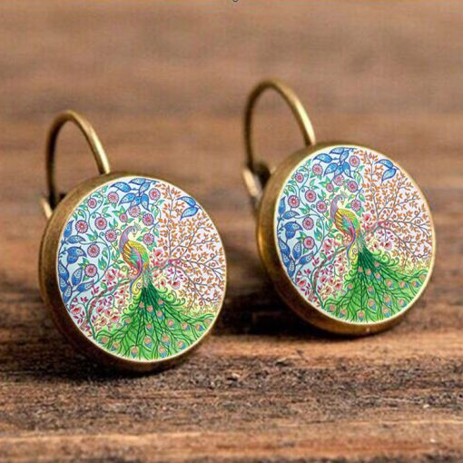 Vintage 18mm Time Gem Peacock Earrings French Hook YFT-105