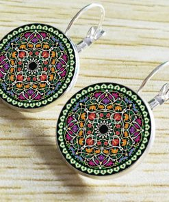 18mm Mandala Flower Retro Pop Time Gemstone Earrings YFT-106
