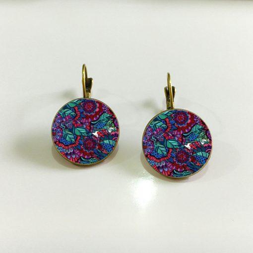 18mm Time Gem Mandala Flower Earrings YFT-128