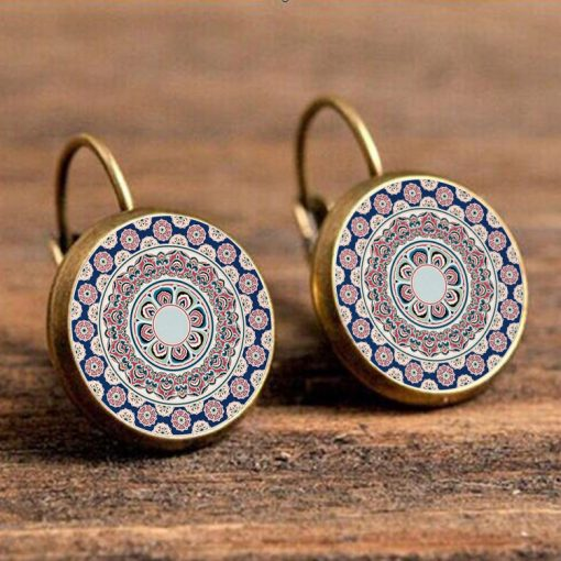 Vintage bohemian ethnic dragon egg earrings French ear hook yft-073