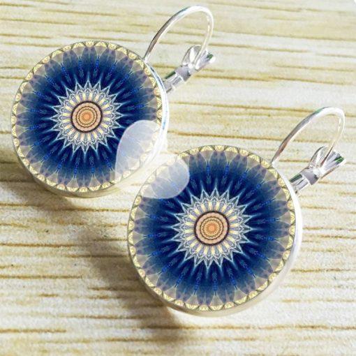 Time Jewel Mandala Flower Earrings French Ear Hook YFT-052