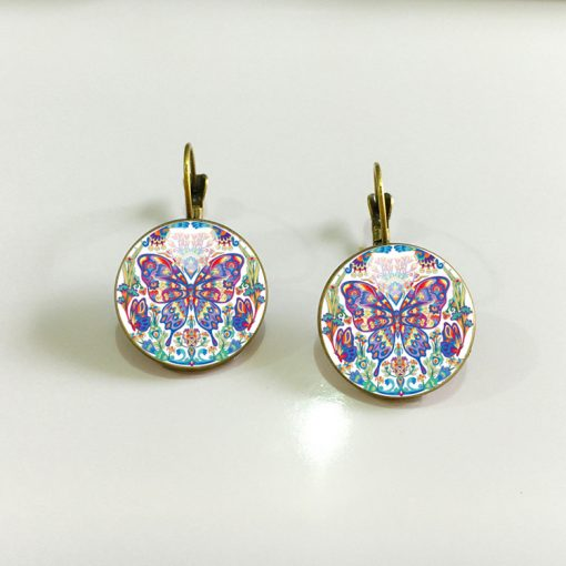 Vintage Time Gemstone Stud Earrings Butterfly Earrings YFT-054