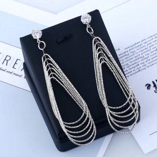 Metal multilayer water drop earrings European and American geometric pattern retro exaggerated female earrings YLX-112