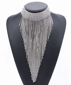 Europe and the United States new full diamond clavicle necklace rhinestone long tassel necklace jewelry exaggerated jewelry wholesale YQL-005