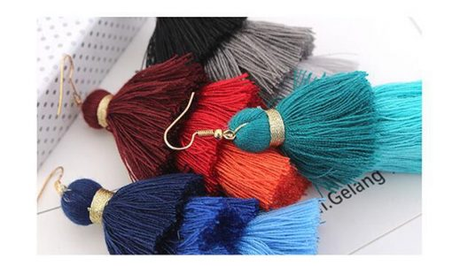 European and American fashion versatile bohemian three-color tassel exaggerated temperament earrings YLX-084