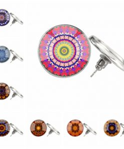 time gemstone glass mandala earrings mixed batch YFT-123
