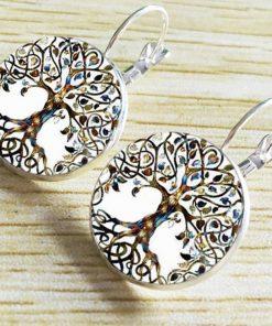 Hot DIY Health Tree Time Gemstone Earrings Silver Plated French Ear Hook YFT-050