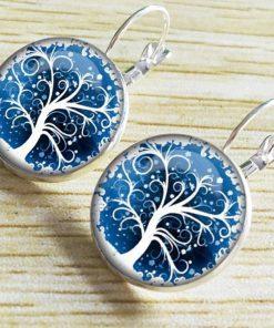 Hot DIY Health Tree Time Gemstone Earrings Silver Plated French Ear Hook YFT-051