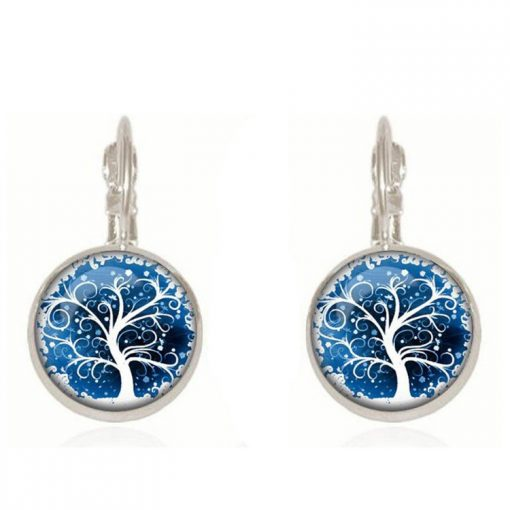 Hot DIY Health Tree Time Gemstone Earrings Silver Plated French Ear Hook YFT-051