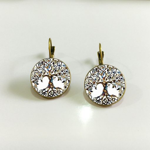 Hot DIY Health Tree Time Gemstone Earrings Silver Plated French Ear Hook YFT-050
