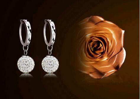 Shamballa full rhinestone earrings silver plated earrings princess ball earrings temperament female earrings factory wholesale YLX-066